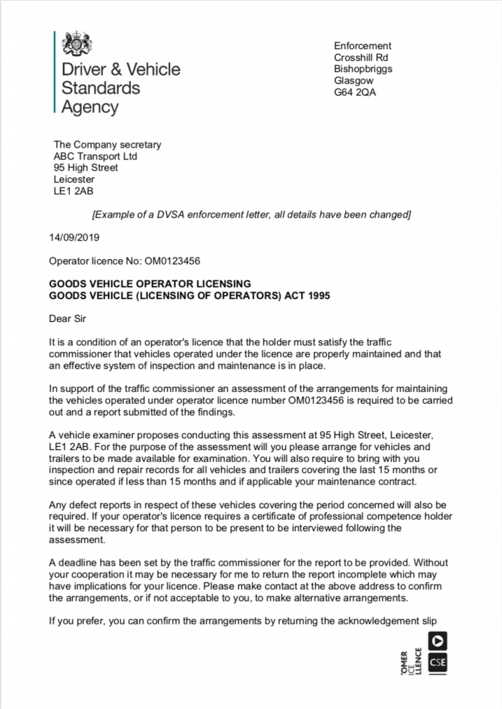 View DVSA enforcement letter